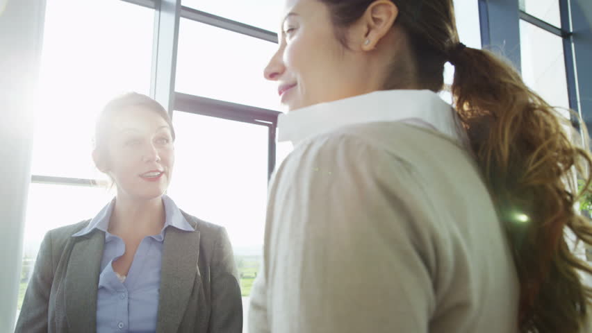 An attractive young business team are having a conversation in a bright, modern office building. They are bathed in sunlight which is streaming through the windows. In slow motion. | Shutterstock Video #3893420