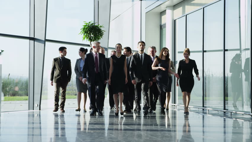 Portrait of an attractive multi-racial business team, as they walk through  a light and modern glass fronted office building towards the camera. In slow motion. | Shutterstock Video #3893537