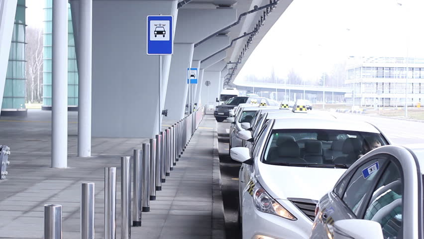 Taxi sevice, lots of ready cars near airport