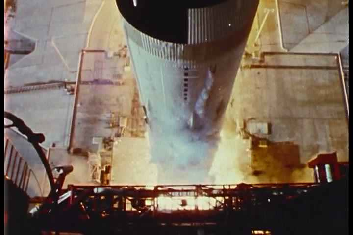 1960s - Apollo 11 lifts off from the launchpad.