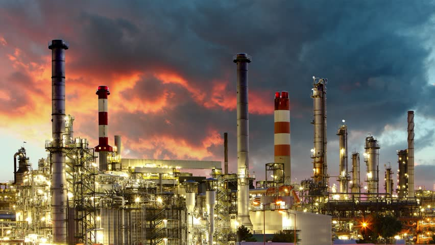 Oil Industry - Refinery plant - time lapse