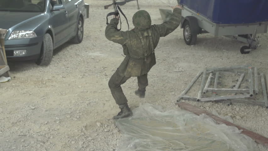 Soldier falling down in slow motion