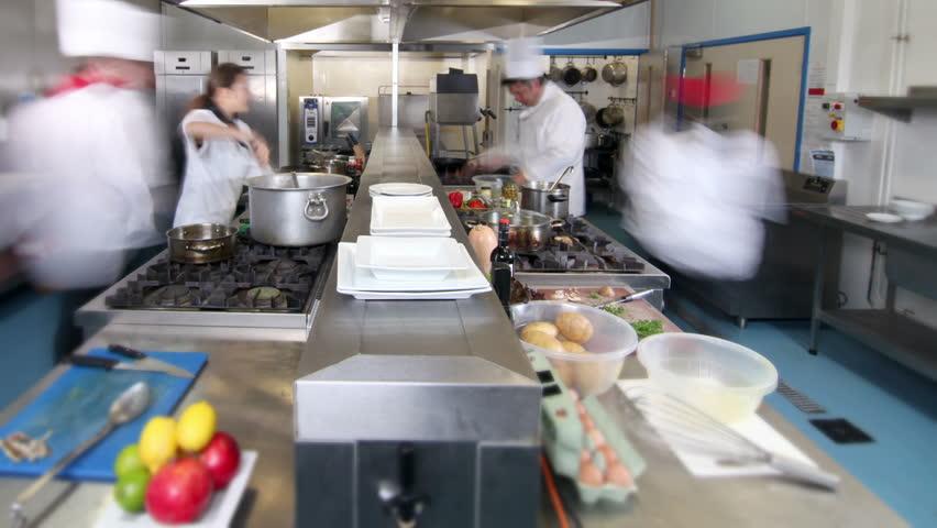Restaurant Kitchen Chefs chefs cook in the kitchen - restaurant stock footage video 8340259