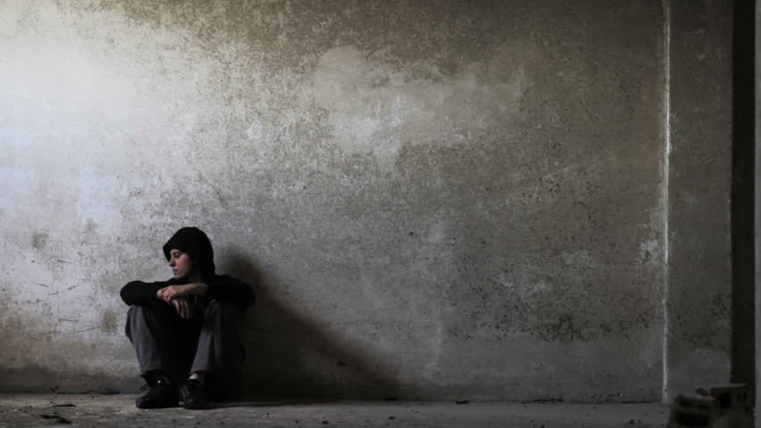 Depressed Young Man in Abandoned Building Unemployment Depression Concept HD