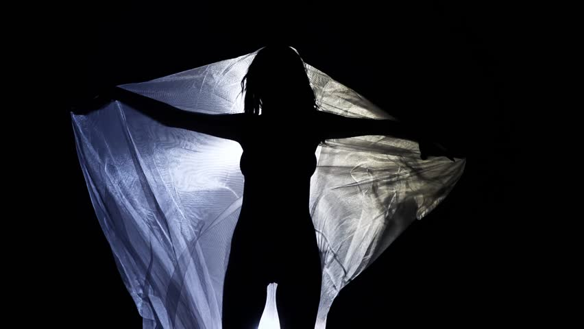 Woman Into Veil Silhouette - Slow Motion