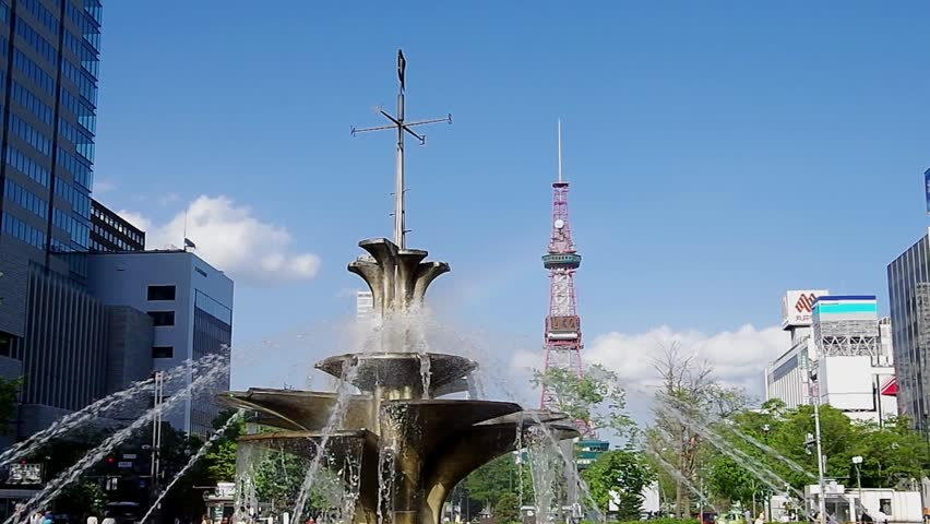 SAPPORO, JAPAN - MAY. 31 : The fountain and Sapporo TV Tower on May 31, 2013 in