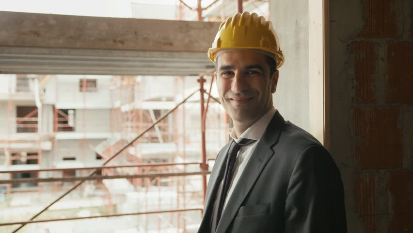 Professional people at work, portrait of happy and confident architect with safety helmet in construction site, smiling at camera. Sequence