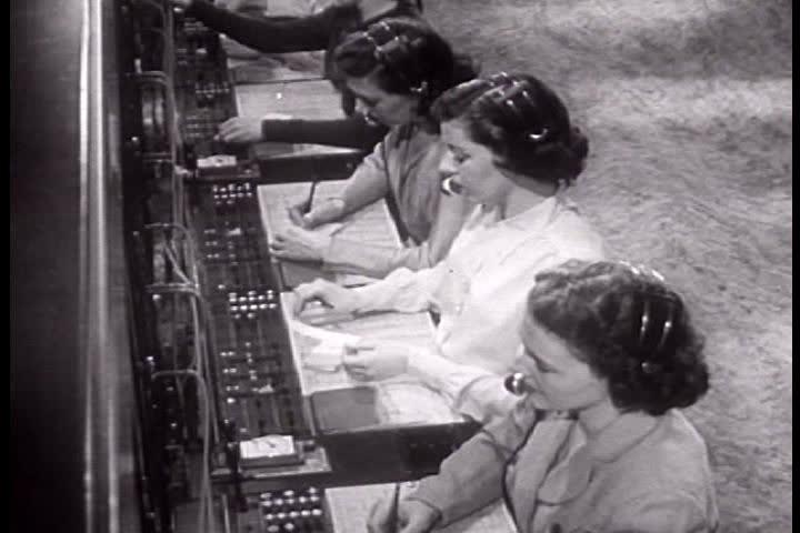 1940s - Telephone switchboard operators in 1949.   Shutterstock HD Video #4011484