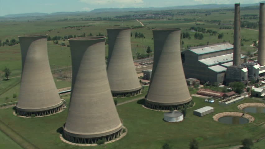 Aerial of discontinued cooling towers