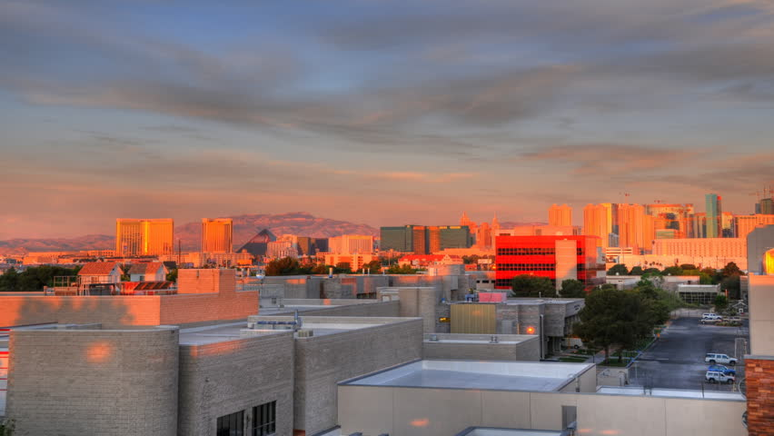 High definition time lapse of a sunrise over the buildings in Las Vegas.