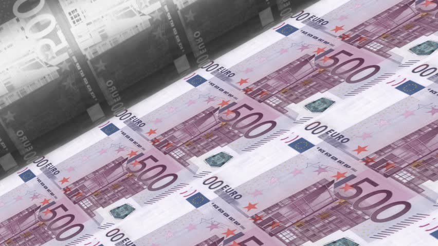 Offset Printing euro banknotes (500 dollar bill sheet). Very detailed high