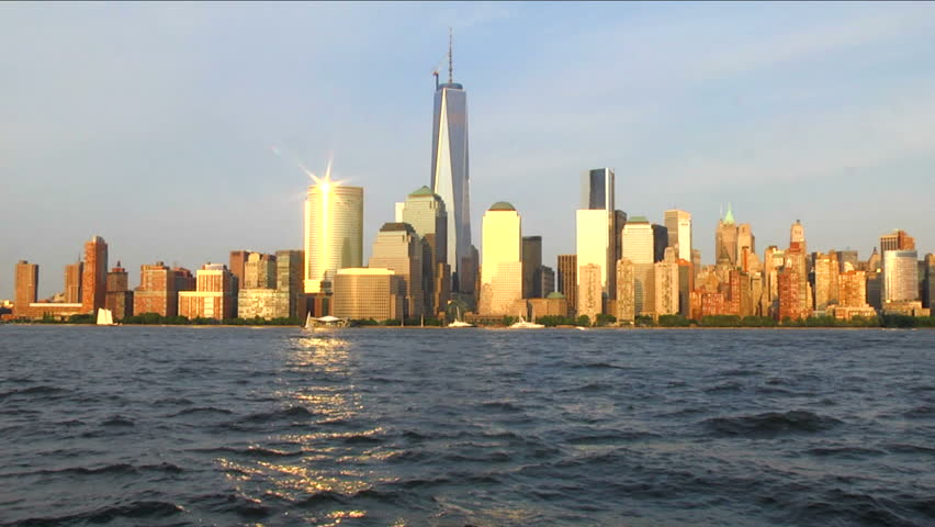 Freedom Tower & Sunset over Lower Manhattan, New York City from New Jersey | Shutterstock HD Video #4147720
