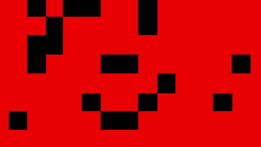 Black squares and rectangles animation on color background.