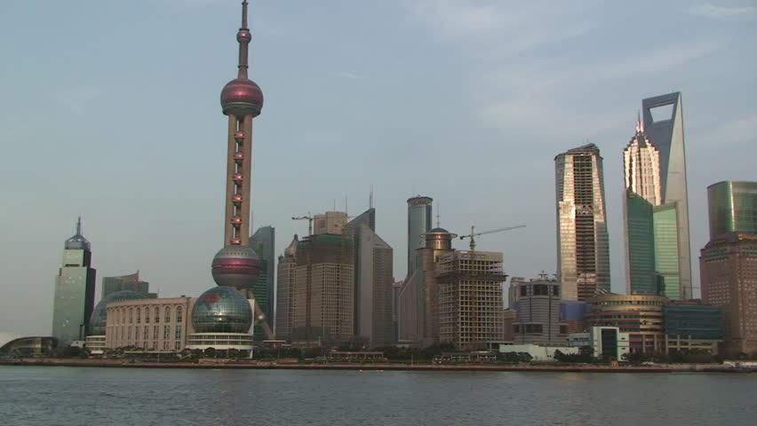 Shanghai, March 2009: Large ship sails through downtown Shanghai part 1
