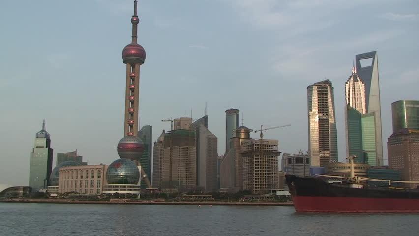 Shanghai, March 2009: Large ship sails through downtown Shanghai part 2