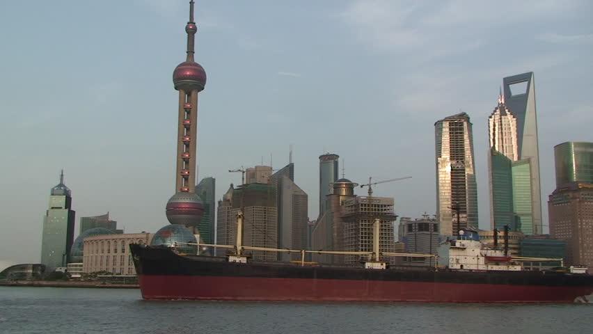 Shanghai, March 2009: Large ship sails through downtown Shanghai part 3