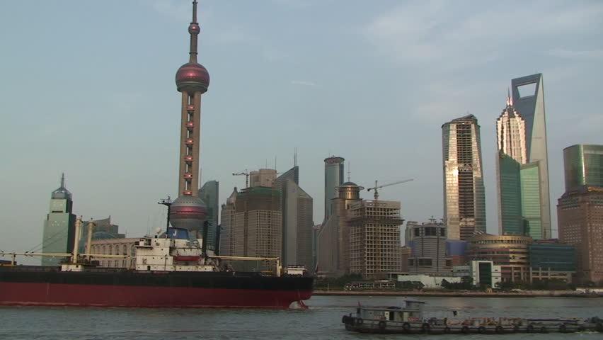 Shanghai, March 2009: Large ship sails through downtown Shanghai part 4