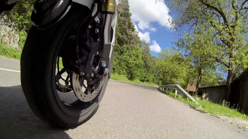 Motorcycle view from the front wheel