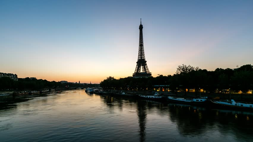 Sunrise at Eiffel Tower and Seine River, Timelapse Video, Paris, France   Shutterstock HD Video #4194124