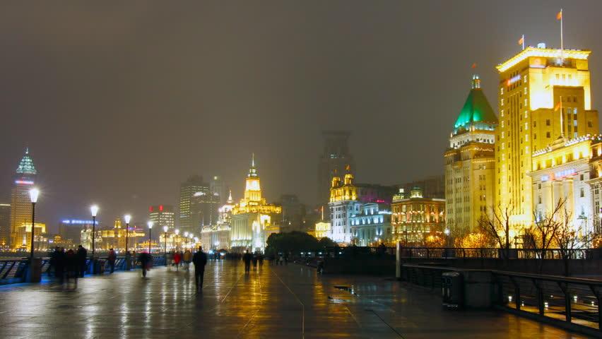 The Bund Shanghai at night.. Shanghai, China.