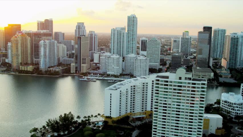 Miami - December 2012: Aerial coastal view of luxury condominiums downtown Miami, Florida, USA