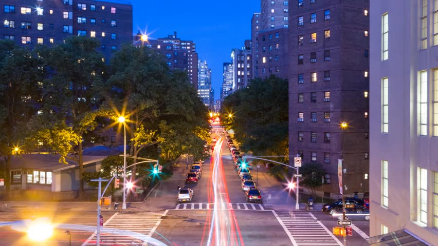 Time lapse of the city traffic at crossroad from evening to early night. | Shutterstock HD Video #4215373