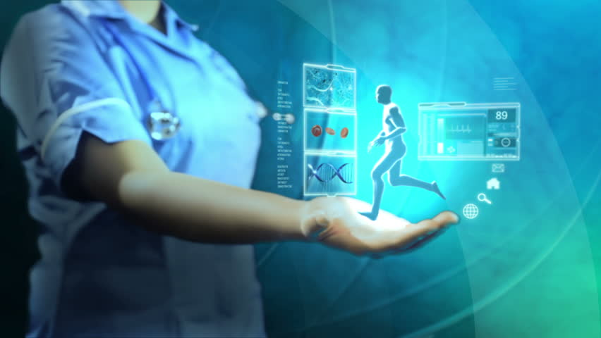 Medical nurse holding 3D digitally generated sphere projecting study of bionic running man for medical research