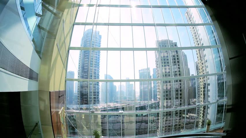 Modern city elevator ascending skyscraper Dubai...