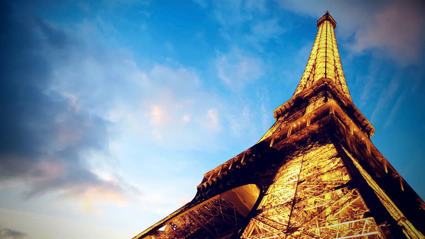 Timelapse view of Eiffel tower in Paris (PARIS - JUNE 24: Beautiful timelapse