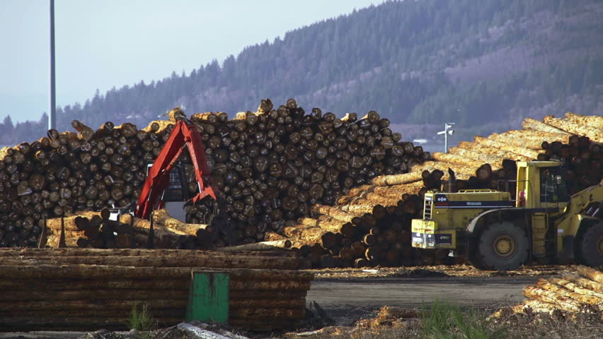 ASTORIA, OR - March 2013 - Grapple loader prepares timber shipment for export on