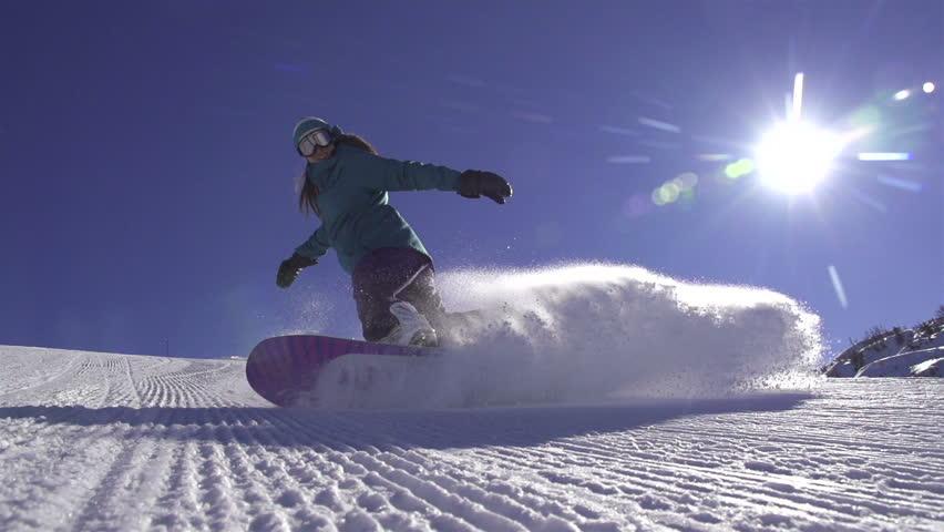 SLOW MOTION: Snowboard girl spraying snow into camera