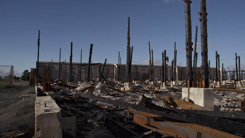 View of charred remains of a building after a catastrophic fire