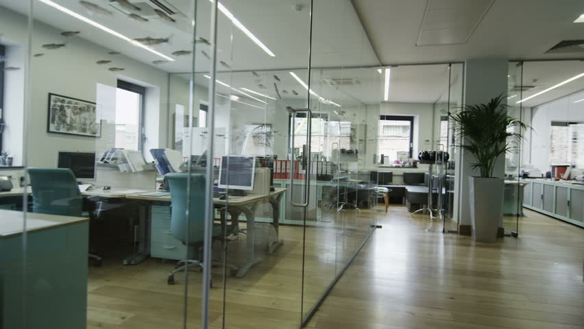 View around a stylish contemporary office space with no people   Shutterstock HD Video #4389611
