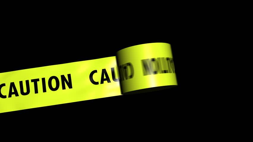 Caution tape Unfurls. Comes with the Alpha Matte.