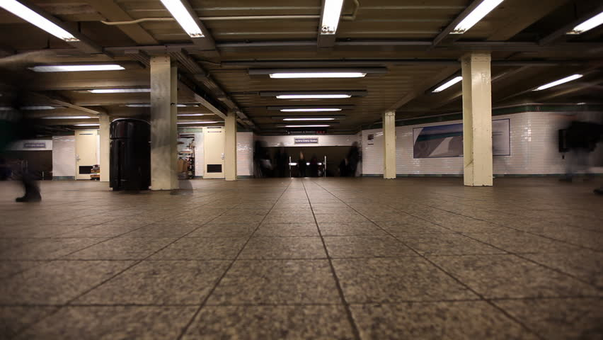 Underground Residential Garage #18: Time Lapse Of Commuters Hurrying Through Subway Station In New York City / HD1080 / 29.97