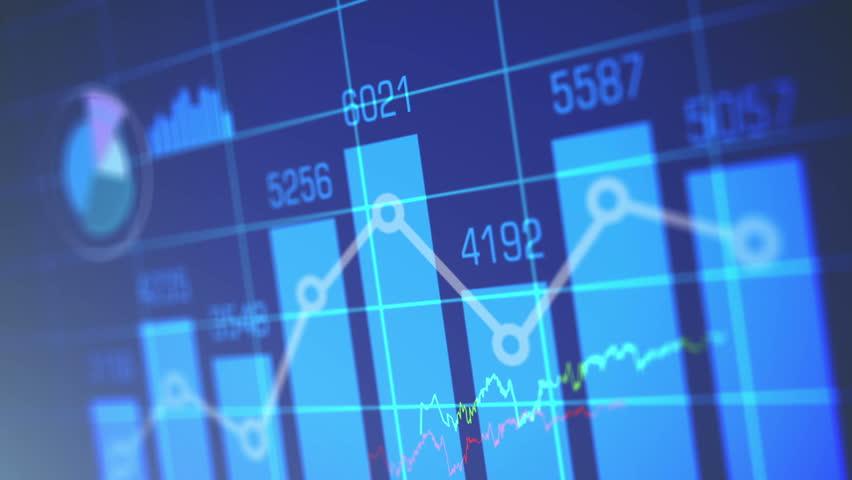 Stock Market Chart on Blue Background.