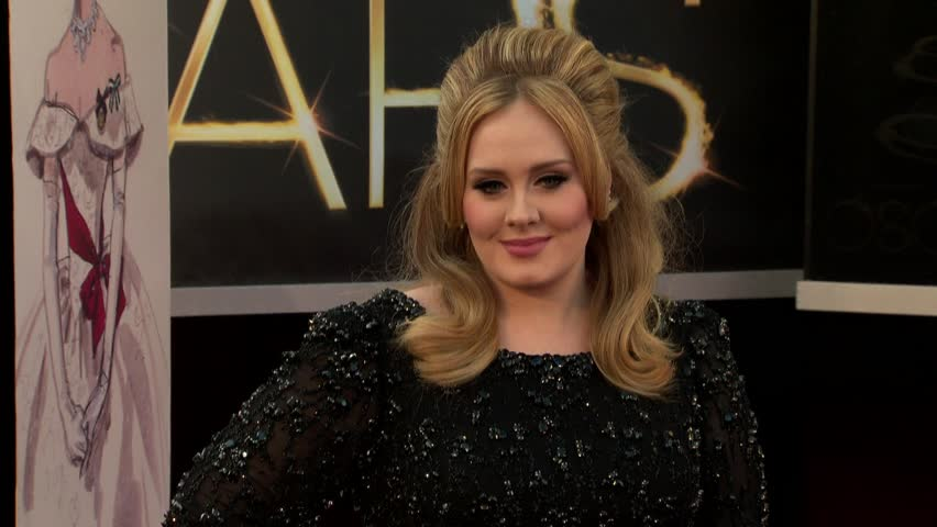 HOLLYWOOD - February 24, 2013: Adele at the Academy Awards 2013 in the Dolby Theatre in Hollywood February 24, 2013
