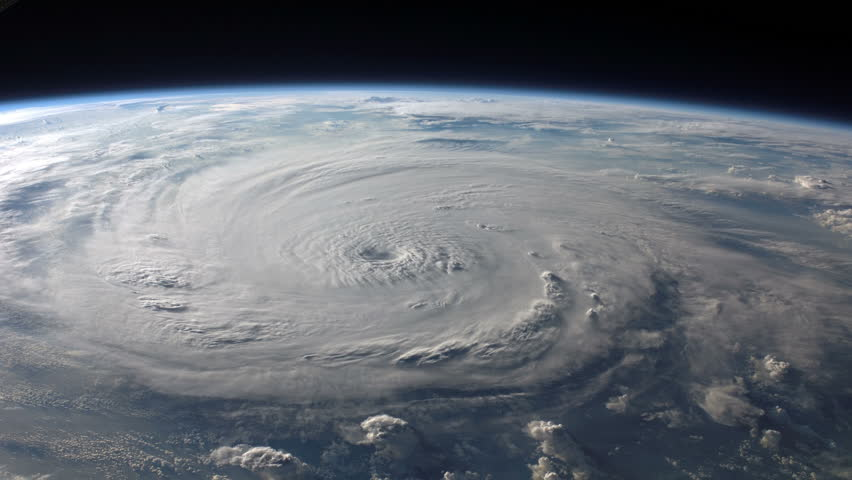 Satellite view of a large hurricane / typhoon with a well defined eye. (Other options available in my portfolio.) | Shutterstock HD Video #4475606