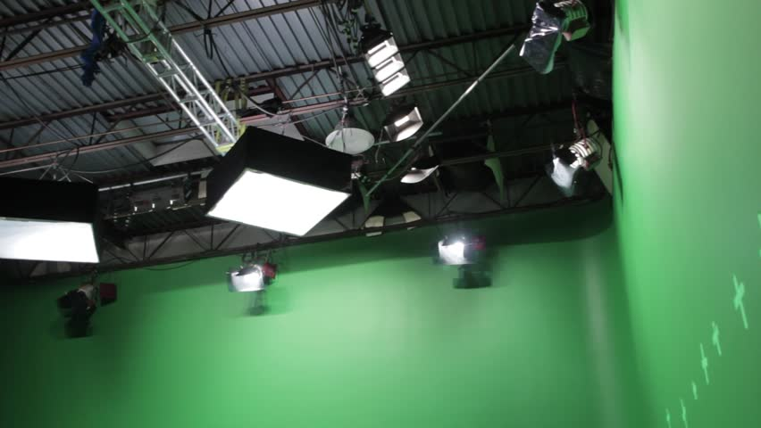 Filming on a professional hollywood green screen sound stage