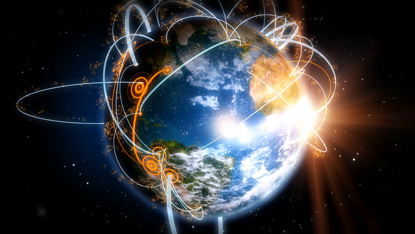 Network Earth - Communication across the world. An animated epic view of our world and the mass of data network communications that surrounds us.