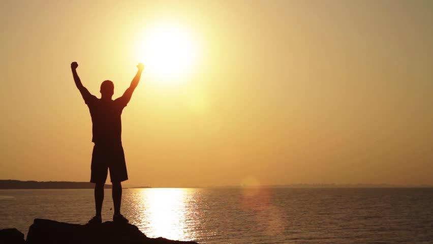 Success Pose Sunset Cliff Traveler Hands Up Concept HD