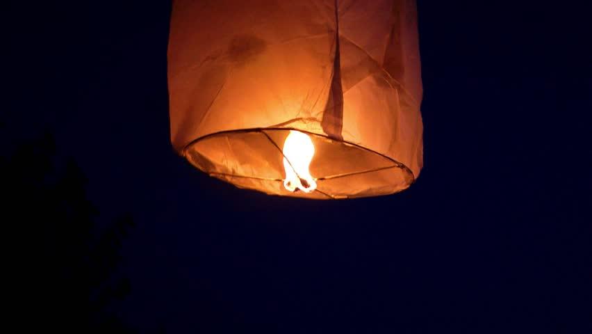 Chinese fire lantern flying way