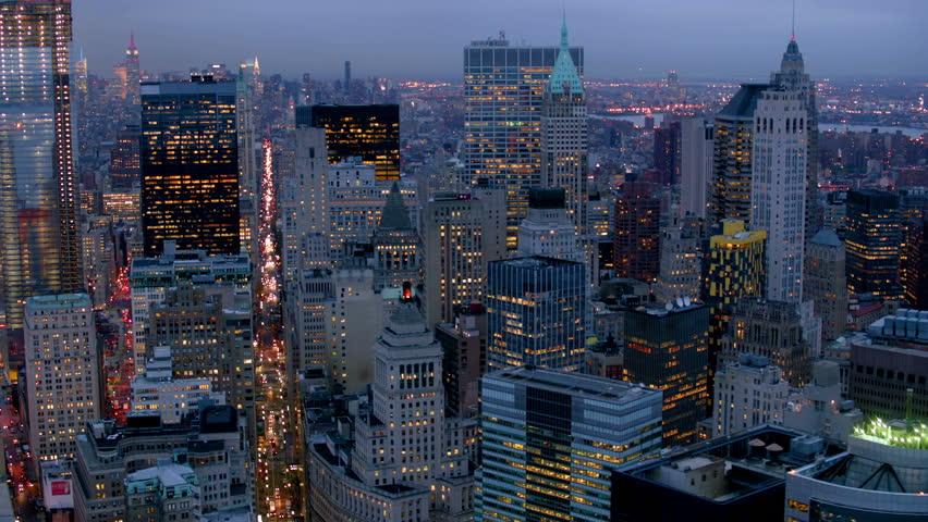 Manhattan financial district at dusk, aerial shot | Shutterstock HD Video #4580087