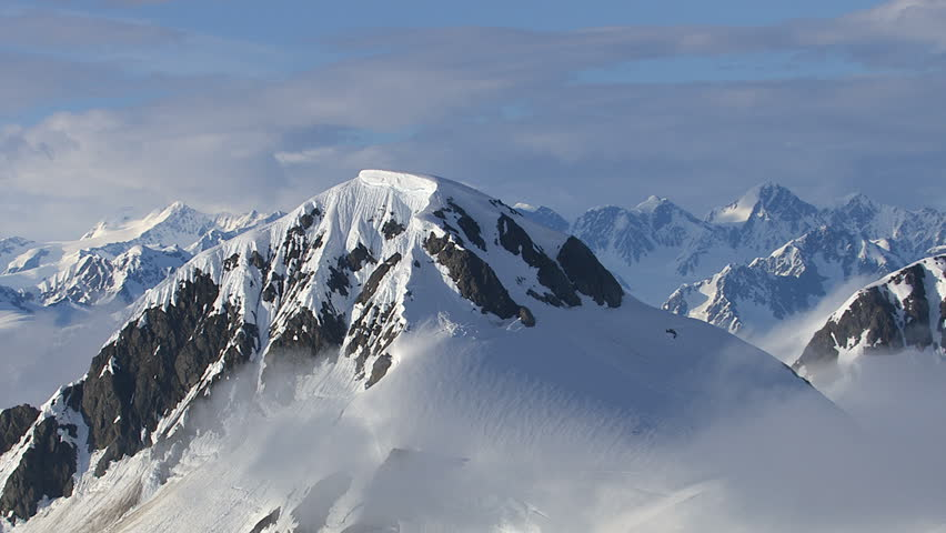 Alaska mountains and clouds, aerial shot
