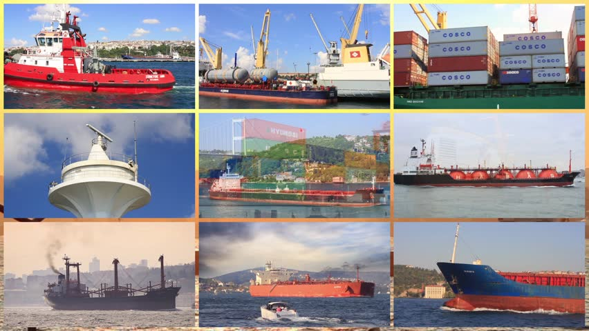 ISTANBUL - CIRCA 2013: (Stylized Multiscreen) Freighter and tanker traffic all