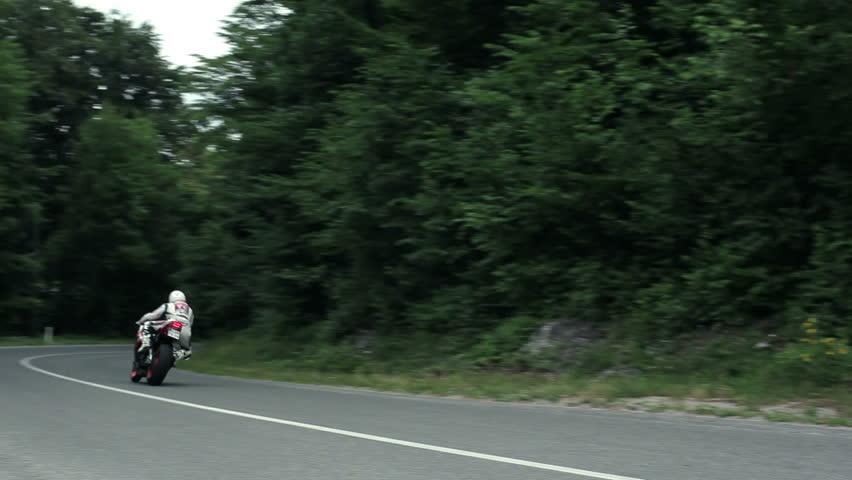 Sport Motorcycle Cornering Downhill