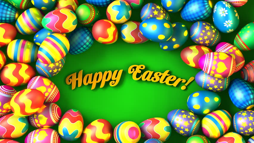 "Easter eggs rolling around text ""Happy Easter!"" 