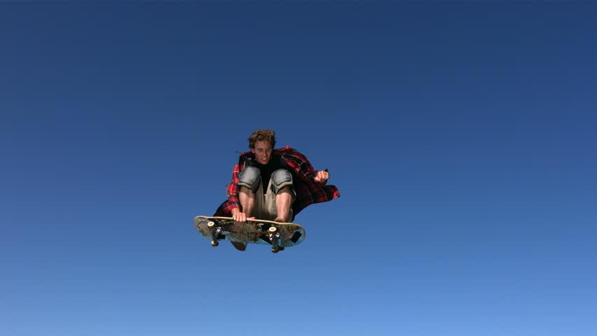 Skateboarder flying in air, slow motion | Shutterstock Video #4656074