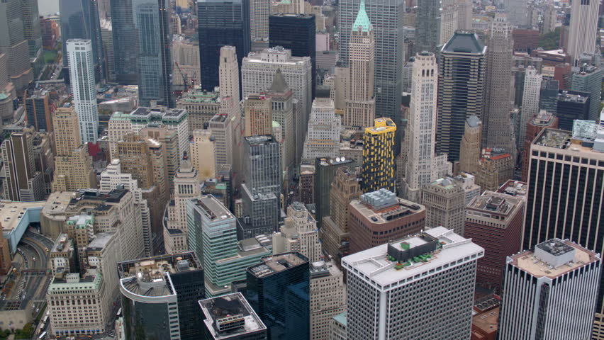 Aerial shot of New York City financial district | Shutterstock Video #4662053