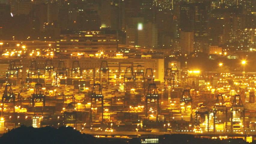 Hong Kong Kwai Tsing Container Terminal at Night